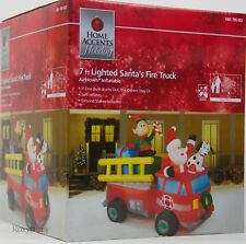 Christmas Gemmy 7 ft Lights Up Santa Fire Truck Scene Airblown Inflatable NIB