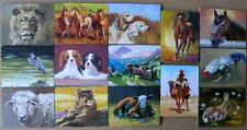 """Oil painting on wood """"Animals"""" ( 2.8 x3.6"""" x 14 ea)"""