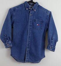 Vintage 90s Boys TOMMY HILFIGER Long Sleeve Blue Denim Oxford Flag Shirt Sz 6