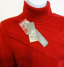 JM COLLECTION SOFT RED TURTLENECK SWEATER Womens PL Buttons at Sleeves $49.50