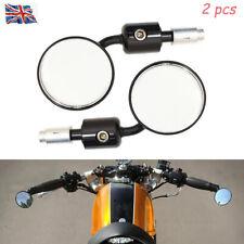 2 pcs Moto Bar End Rétroviseurs vélo moto de recul rond noir universel