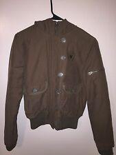 Ben Sherman Women's Full Zip Hooded Jacket Army Green Size XS