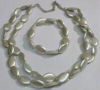 parure bijou rétro galette couleur argent collier 2 rangs et deux bracelets 3807