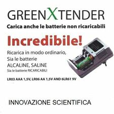 CARICABATTERIE GREEN XTENDER ricar PILE AA AAA 6LR61 NiCd NiMh Alcaline Saline|ò