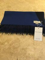 Pure Thick Double Plaid Cashmere Royal Navy Blue Limited Edition Made Scotland