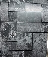 As 34779-3 Black Glitter Tile Slate Stone Effect Kitchen + Bathroom Wallpaper