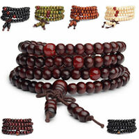 Multilayer 108 6MM Buddhist Prayer Bead Mala Wood Necklace Bracelet Strand Wrist
