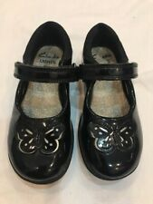 Clarks Girls Black Patent Shoes Size UK 7.5 E Infant / 25