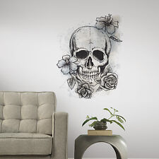 NEUTRAL FLORAL SKULL WALL DECAL New Giant Black Gray Sticker Unique Room Decor