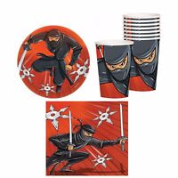 Red NINJA Birthday Party Pack Set for 8 Guests Plates Cups Napkins ~ 32 pieces