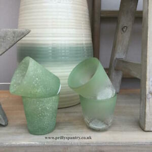 2 Green Sea Glass or Frosted Crackle - Votive Tea Light Candle Holders 7.5 x 7cm