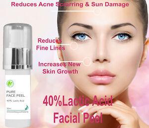 40% Professional Grade Lactic Acid Facial Peel Wrinkles Acne Age Sun Spots 30 ml