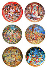 6 Bill Bell Limited Edition Holiday Themed Franklin Mint Collector Plates