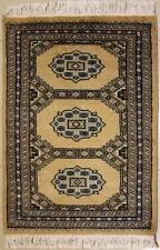 Rugstc 2x3 Bokhara Jaldar Beige Area Rug, Hand-Knotted,Geometric with Wool Pile