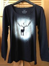 Majestic Stag A. Hand Spray Painted Long Sleeve Top. Size 14/16