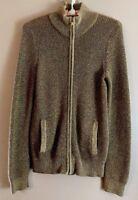 Lauren Active L-RL Ralph Lauren Metallic Gold Zippered Cardigan Sweater Ladies S