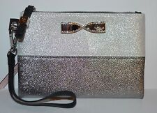 VICTORIA'S SECRET SILVER GRAY BOW CLUTCH MAKEUP COSMETIC BEAUTY BAG POUCH CASE