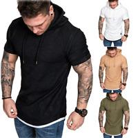 Mens Muscle Hooded T-shirt Short Sleeve Hoodie Gym Slim Fit Casual Tee Shirt Top