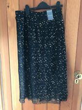 primark floaty plisse pleated black gold print dot skirt 12 bnwt half lined