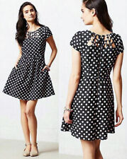 $178 NWT ANTHROPOLOGIE Maeve Nicola Dress Black White Polka Dots Cutouts Sz 12
