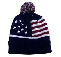 USA Patriotic American Flag Cuffed Watch Cap Beanie Knit Winter Hat
