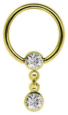 Piercing Ring BCR Gold Plated 1,6mm with Chain and Stone - Clamp Ball in 4mm,