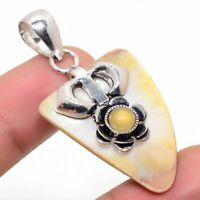 "Mother Of Pearl Onyx Ethnic Handmade 925 Silver Jewelry Pendant 1.97"" VJ-1563"