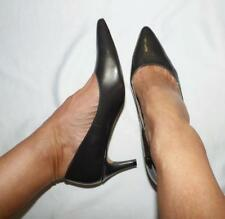 $99.95 GIOVANNA penny OLIVE STEEL GREY PATENT LEATHER HEELS 8 pointy shoe as new
