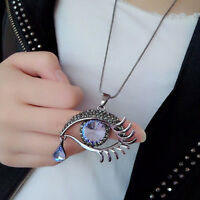 Lovely Chain Necklace Rhinestone Tear Drop Eye Shape Pendant Blue Crystal