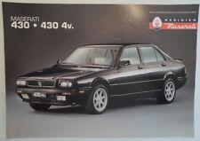 MASERATI BITURBO 430 & 430 4V ORIG 1991 UK Opuscolo Vendite Mkt opuscolo in inglese