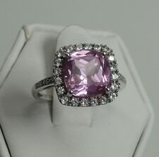 10K White Gold Pink CZ Ring Clear CZ Halo Cushion Cut Center Stone Size 7