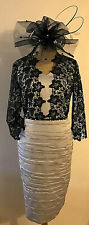 NEW! LIZABELLA SILVER GREY & NAVY LACE DRESS SIZE 16