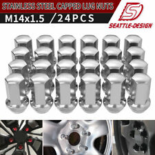 24 Chrome 14x1.5 Lug Nuts Polish Stainless for GMC Sierra Yukon XL Denali Savana