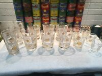 14 HTF vintage MCM white & gold medallion  cocktail glasses Briard Culver