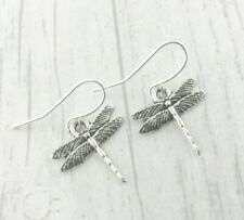 Silver Dragonfly Earrings Plated Dangly Drop