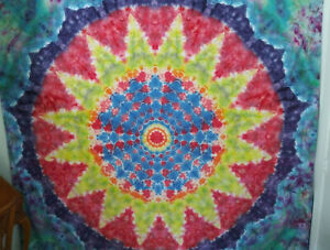 Home made tie-dye tapestry queen size bedsheet psychedelic mandala sacred geomet