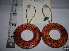 Wood Leopard Hoops Earrings New Pierced Dangle Gold tone