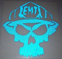 """3"""" EMT Skull Decal <<<BLUE REFLECTIVE>>> Firefighter Rescue EMS Decals Stickers"""