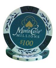 100pcs 14g Monte Carlo Millions Casino Poker Chips $100