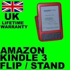 Rojo Flip Stand Cuero Funda Para Amazon Kindle 3
