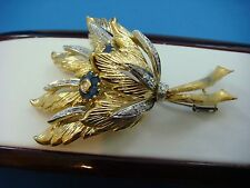 Sapphires And Diamonds, 20.3 Grams Spectacular 18K Gold Vintage Brooch With