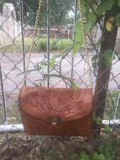 Vtg Western Ware Tooled Leather Purse Shoulder Crossbody Bag Cowgirl