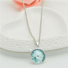 Women's Fashion simple Silver Chain Round Sea blue Crystal Pendant Necklace