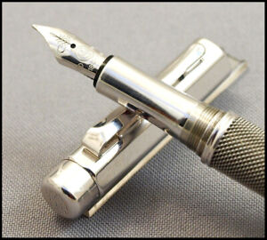 CARAN D'ACHE VARIUS IVANHOE SILVER PLATED RHODIUM COATED 18K M NIB FOUNTAIN PEN