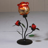 TEA LIGHT HOLDER GLASS RED ROSE CANDLE TABLE CENTRE PIECE WEDDING DECORATION