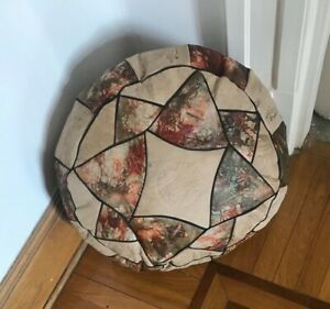 Egyptian camel leather footstool Pouf pouffe with pharaonic imprints medium