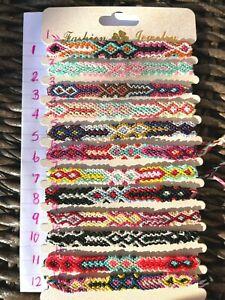 Colourful pretty boho style braided weave bracelet