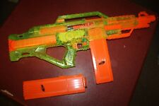 NERF N-STRIKE STAMPEDE ECS Sonic Series RARE HTF clear Green Neon Gun w/ 2 mags