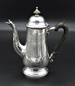 LARGE LATE 19TH CENTURY ORNATE HAND CHASED COFFEE POT WATER JUG SILVER PLATED