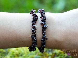 Dark GARNET Crystal Bracelet - Chip Beads - Birthstone Handmade Jewelry, E1769